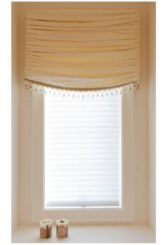 Such simple elegance and believe it or not, this could even be made from drapery lining! Stationary gathered Roman, Sheffield Master Bathroom over tub window minus the tassels. Valance Window Treatments, Custom Window Treatments, Window Coverings, Custom Blinds, Bathroom Windows, Window Styles, Ballon, Stores, Dining Room