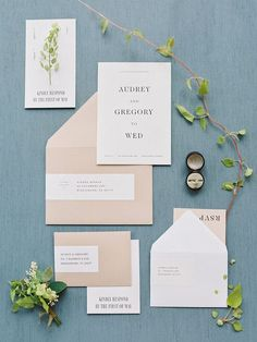 Minimal botanical wedding invitation suite