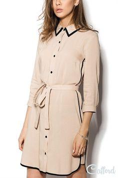 Платье-рубашка из штапеля Teo 201-2 Бежевое