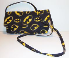 Batman Inspired Clutch Style Purse Approximately 10 inches long by 5 inches high and about 1 inch deep with 33-35 Inch Strap. Black - pinned by pin4etsy.com