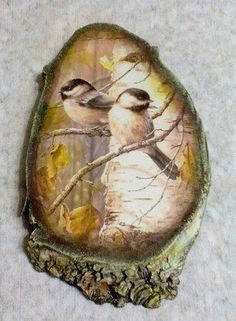 Painting art on wood - Esirgeme Stone Painting, Painting On Wood, Painting & Drawing, Wood Slice Crafts, Wood Crafts, Bird Pictures, Pictures To Paint, Decoupage Wood, Wood Burning Art