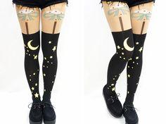 Night Moon Stars Pastel Goth Kawaii Thigh High Tights · Sandysshop ...