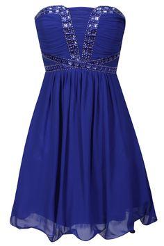 Cobalt Embellished Bustier Dress   Little-Mistress