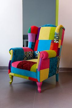 Patchwork Chair Juicy Colors by JuicyColorsShop on Etsy