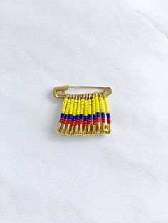 Columbia Flag Pin Handmade World Cup Lapel Pin Gift for Her Birthday Gift Columbian Pin Beaded Flag Safety Pin Crafts, Safety Pin Jewelry, Safety Pins, Flag Lapel Pins, Flag Pins, Colombia Map, Jewelry Patterns, World Cup, Blue Nails