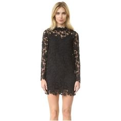 ThePerfext Long Sleeve Crochet Dress (3.520.360 COP) ❤ liked on Polyvore featuring dresses, black, high neck lace dress, long sleeve lace dress, long sleeve shift dress, crochet lace dress and lace shift dress