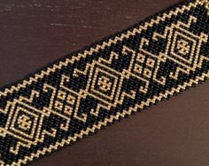 Elegant black and gold Carpathian bracelet by ArtFromKryg on Etsy