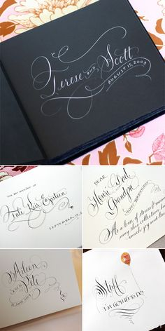 Rag & Bone Bindery's beautiful albums and optional custom calligraphy by Maria Thomas (gorgeous work! Calligraphy Paper, Calligraphy Envelope, Wedding Calligraphy, Modern Calligraphy, Wedding Stationery, Wedding Invitations, Learn Calligraphy, Caligraphy, Invites