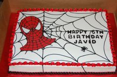 Spiderman - Buttercream with RI transfer.  Two 9 x 13 cakes side by side.  Chocolate and vanilla...not very original!