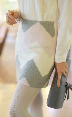 Styleonme_Pastel Tone Wool Skirt #skirt #pastel #zigzag #wool