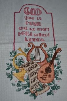 This is another one of my favorite cross stitch pieces! I just do not have it framed yet, but it would look nice above my piano!