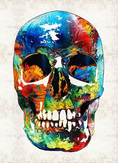 Colorful Candy Skull Art PRINT from Painting Day Of The Dead Horror Primary Colors CANVAS Ready Hang Large Artwork Pirate Skulls Teeth Face by BuyArtSharonCummings on Etsy https://www.etsy.com/listing/211195121/colorful-candy-skull-art-print-from