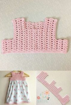 26 models of knit and crochet baby clothes Crochet Baby Dress Pattern, Crochet Flower Tutorial, Baby Dress Patterns, Crochet Baby Clothes, Crochet Girls, Crochet Blouse, Baby Knitting Patterns, Crochet Lace, Crochet Stitches