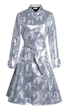 Tate Metallic Camera Jacquard Trench Coat by Tanya Taylor for Preorder on Moda Operandi