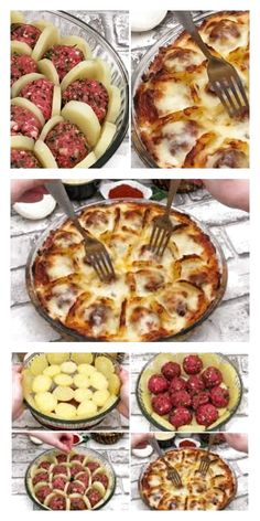 Boil potatoes and slice them arrange with meatballs and cheese and bake for a delicious french treat – Artofit Meat Recipes, Cooking Recipes, Healthy Recipes, Plats Ramadan, Good Food, Yummy Food, Turkish Recipes, Food Porn, Easy Meals