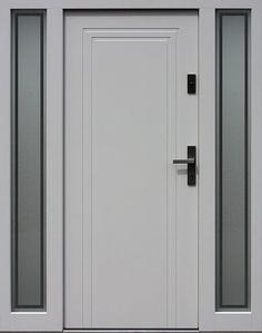 Drzwi zewnętrzne z doświetlami dostawkami bocznymi model wzór 642,1+ds9 w kolorze białe. Door Frame Molding, Tall Cabinet Storage, Locker Storage, Gun Rooms, Main Door, Steel Doors, Wooden Doors, Door Design, Interior