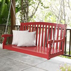 Front Porch Swing!!!  Coral Coast Pleasant Bay Curved Back Porch Swing - Red at Hayneedle