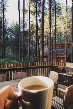 This morning view and breakfast - Wald Morning View, Cabins In The Woods, Coffee Love, Coffee Coffee, Coffee Shop, Adventure Is Out There, The Great Outdoors, Serenity, Places To Go