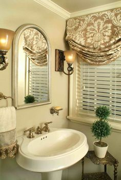 Love the window treatment - relaxed Roman Shade in gorgeous neutral fabric paired with faux wood blinds - looks great in this bathroom. Budget Blinds of Benton Small Window Curtains, Bathroom Window Curtains, Bathroom Window Treatments, Bathroom Windows, Custom Window Treatments, Small Windows, Window Valances, Wood Valance, Privacy Curtains