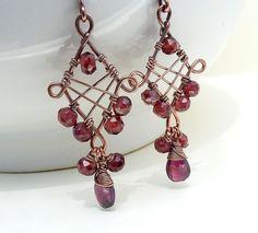 Copper+Wire+Jewelry | Red garnet earrings, copper wire wrapped jewelry, copper earrings