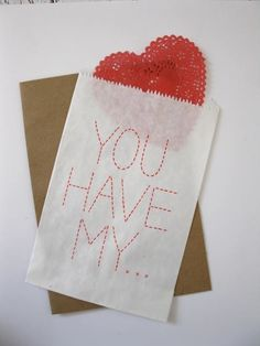 YOU HAVE MY HEART card. $3.00, via Etsy.