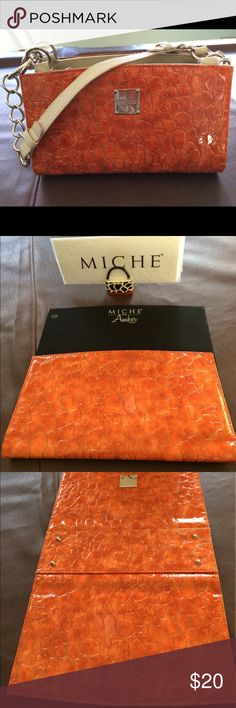 """Miche Classic Amber Shell """"Amber"""" Shiny Orange Crock printed Shell for the Miche Classic bag. This color really pops!  Very pretty shell.  Gently used and in very good condition.  Great for a splash of color that will stand out this summer!! Miche Bags Shoulder Bags"""