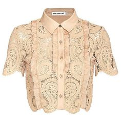 Self Portrait Paisley Lace Crop Blouse ($350) ❤ liked on Polyvore featuring tops, shirts, crop top, cropped, short sleeve collared shirt, collared crop top, beige shirt and lace collar shirt