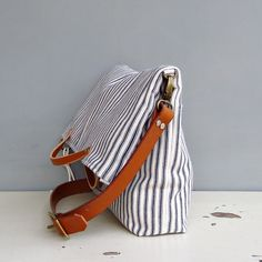 Monday Morning Studios Convertible Tote in Cotton Ticking Leather 5 Colors | eBay