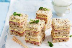 Ham, vintage cheddar and tomato chutney sandwiches