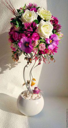 """Топиарии ручной работы. Ярмарка Мастеров - ручная работа. Купить Топиарий """"Райское гнездышко"""". Handmade. Комбинированный, подарок на 8 марта"""