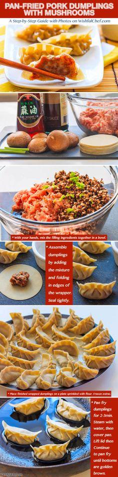 Pan Fried Pork #Dumplings with Mushrooms // wishfulchef.com #ChineseNewYear #Appetizer