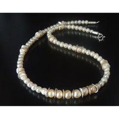 edel Collier Zuchtperlen ivory-champagner - Brautkette-Brautschmuck color zur Hochzeit