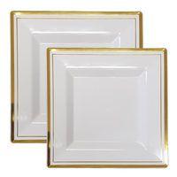 square plastic white with gold rim bulk combo  sc 1 st  Pinterest & Square White Plastic Plates with Gold Rim Dinnerware Set for 60 ...