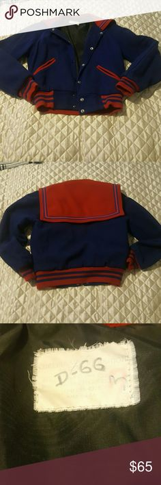 Vintage Womens Letterman/Varsity jacket Very unique Blue & Red Vintage letterman/Varsity jacket. No tag that states size but would fit like a small. Excellent Vintage condition, no holes on outside or lining Vintage Jackets & Coats