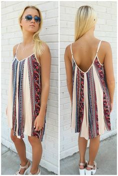 Beach Town Life Ethnic Print Swing Taupe Slip Dress from Amazing Lace. Summer Fashion Outfits, Cute Summer Outfits, Taupe Dress, Ethnic Print, New Fashion Trends, Dress Me Up, Beach Town, Street Style, Clothes For Women