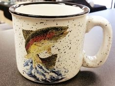 Jumping Rainbow Trout White Trail Mug Rustic Mugs, Rainbow Trout, Trail, Display, Tableware, Floor Space, Dinnerware, Billboard, Dishes