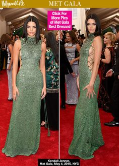 Kendall Jenner Flaunts Side Boob In Glam Green Gown At MetGala