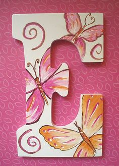 Hand Painted Monogram Letter with Whimsical Painting Wooden Letters, Monogram Painting, Painted Letters, Wood Letters, Monogram Letters, Letters And Numbers, Alphabet Letters, Letter Door Hangers, Letter Wall