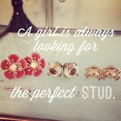 """Find your perfect """"stud"""" in my boutique, plus mine come with a lifetime guarantee! www.chloeandisabel.com/boutique/nicoleberenguer/1d2474 #chloeandisabel #chloeandisabelbynicole #stud #perfect #earrings #lifetimeguarantee #xmasinjuly #christmasinjuly #giveaway #vintage #glam"""