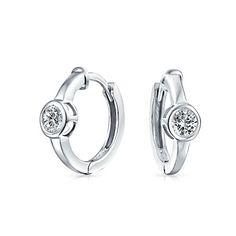 cebd3c799 Round Solitaire Bezel Set Kpop Huggie Hoop Earrings For Women Men Cubic  Zirconia Silver Plated 925 Sterling Silver