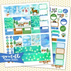 Vintage Christmas PRINTABLE Planner Stickers | Pdf, Jpg, Silhouette Studio V3 Format | ECLP Vertical Planner Stickers