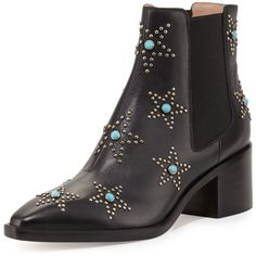 Valentino Studded Turquoise Leather Chelsea Boot ($1,046) ❤ liked on Polyvore featuring shoes, boots, ankle booties, shoes booties, leather booties, pointy-toe boots, pointed toe booties, slip on boots and chelsea boots