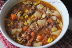 We Got Real vegetable beef soup. I used fresh tomatoes and it was delicious! Used peas instead of lima beans.