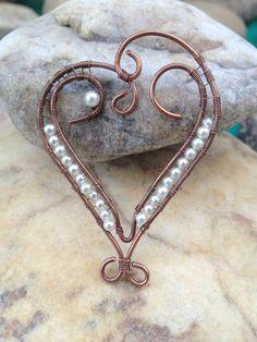 Pendentif cœur en fil de cuivre : Pendentif par bijoux-femmes