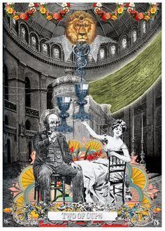 Two of Cups - Arthur Taussig Collage Tarot