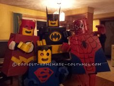 Superhero Lego Minifigure Costumes... This website is the Pinterest of costumes Group Halloween Costumes, Family Costumes, Cool Costumes, Costume Ideas, Superhero Fancy Dress, Superhero Party, Super Hero Outfits, Lego Minifigure, Crafts For Boys