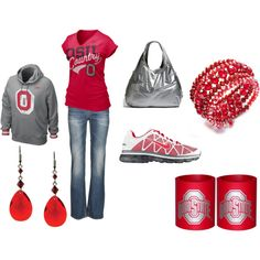 I love how beer coozies are part of the outfit. Not just one, but two! Double fisting it for the Buckeyes! O-H!