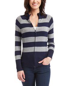 9.99 Look what I found on #zulily! Navy & Heather Gray Stripe Zip-Up Sweater #zulilyfinds