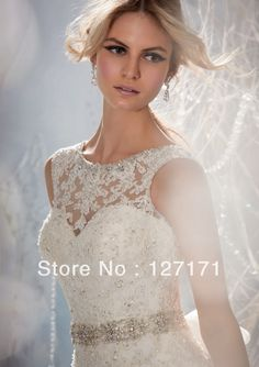 Free Shipping New Design  A-line Sheer Neckline Embelished With Crystal Beads Tulle& Lace Wedding Dress 2014 Bridal Dress