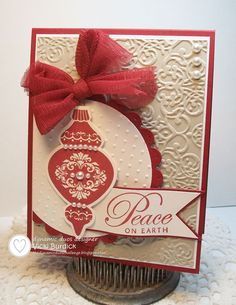 It's a Stamp Thing: Dynamic Duos......Peace on Earth #stampin' up! card #ornament keepsakes embossing folder